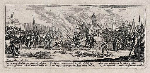 The burning of criminal soldiers on the stake. Etching by Jacques Callot, ca 1633. Contributors: Jacques Callot. Work ID: ttuk3m6t.