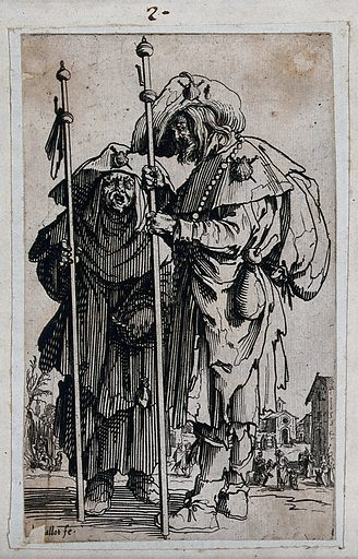 Two pilgrims. Etching with engraving by Jacques Callot, ca 1622. Contributors: Jacques Callot. Work ID: gj6pvp8n.