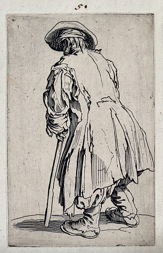 Beggar with one crutch, seen from behind. Etching with engraving by Jacques Callot, ca 1622. Beggars. Begging. Poor. Contributors: Jacques Callot (1592–1635). Work ID: mrkb37hp.
