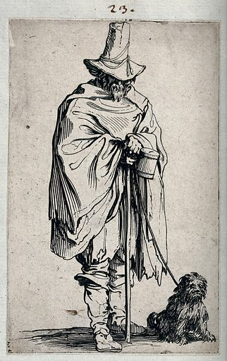 A blind man with his dog. Etching by Jacques Callot, ca 1622. Standing, holding a vessel with a slot into the top of which coins can be inserted. Blind. Beggars. Begging. Poor. Contributors: Jacques Callot (1592–1635). Work ID: yzr3cdrh.