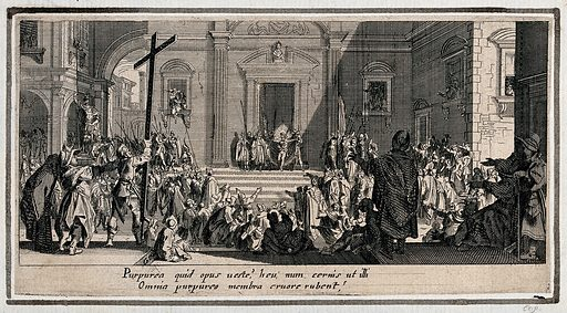 Christ presented to the people. Etching with engraving by Jacques Callot. Bible. NT Matthew 27.26–30. Mark 15.15–20.Luke.23.16–22.John.19.1–2 Punishment – Religious aspects. Executions and executioners. Pain. Death. Contributors: Jacques Callot (1592–1635). Work ID: s9db97pu.