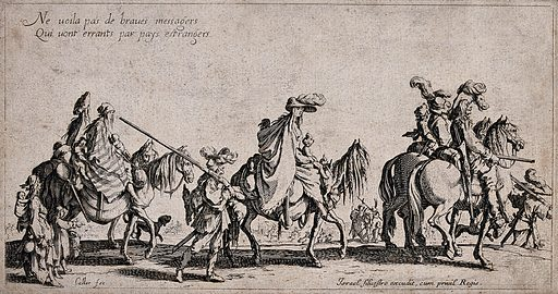 Travelling gypsies. Etching with engraving by Jacques Callot. Journey workers. Begging. Beggars. Poor. Animals. Contributors: Jacques Callot (1592–1635). Work ID: gdfb8p3k.
