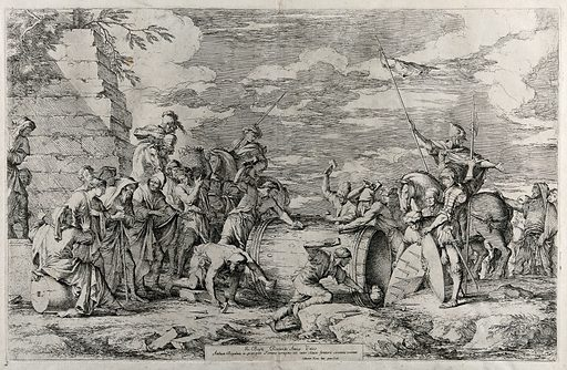 Carthaginian soldiers preparing the martyrdom of Attilius Regulus. Etching by S Rosa after himself. Contributors: Salvator Rosa. Work ID: bf9gue6q.