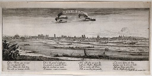 Paris from the bank of the Seine. Etching by I Silvestre. Contributors: Israël Silvestre (1621–1691). Work ID: g55u7quy.