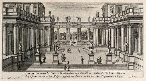 Paris: the colonnade of the Sorbonne. Etching. Created 1649. Sorbonne (Paris, France). Contributors: Israel Henriet (approximately 1590–1661). Work ID: mzqe3s22.