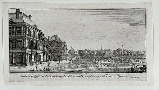 The Palais d'Orleans with the Jardin du Luxembourg. Etching. Work ID: xp2h4nck.