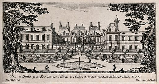 """The Hôtel de Soissons in Paris. Etching by I Silvestre. Described as """"the immense Hôtel de la Reine (1572–8; later the Hôtel de Soissons; destr.), whose surviving Doric column (h 25 m) stood in the middle of the court … its summit serving as an observatory for the Queen or as a memorial"""" – The dictionary of art, London 1996, vol 5, p 166. The column is visible in the right background. Created between 1600 and 1699. Hôtel de Soissons (Paris, France). Contributors: Israël Silvestre (1621–1691); Jean Bullant (approximately 1515–1578). Work ID: p5qbw25d."""
