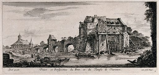 The bridge and temple at Charenton. Etching. Work ID: dgvhb7ej.