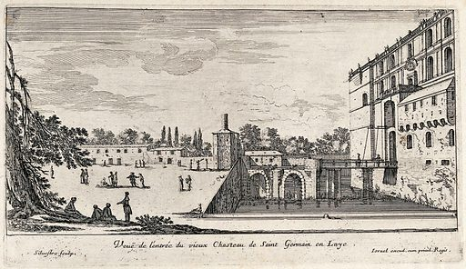 The entrance of the old castle at St Germain en Laye. Etching by I Silvestre. Contributors: Israël Silvestre (1621–1691). Work ID: jzt2wcc6.