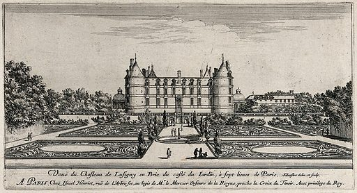 The castle at Lusigny en Brie near Paris. Etching by I Silvestre. Contributors: Israël Silvestre. Work ID: bjknjs7m.