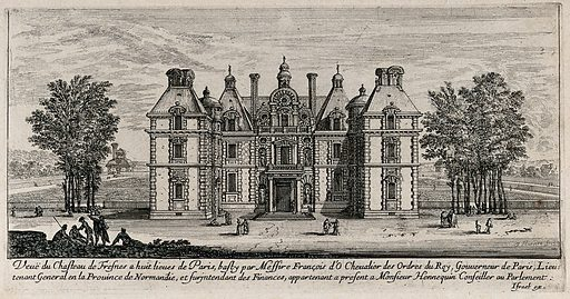 The castle at Fresnes near Paris. Etching by I Silvestre. Contributors: Israël Silvestre. Work ID: fy3n4zyx.