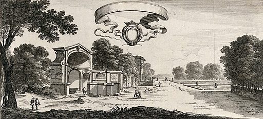 Parts of the gardens at Fontainebleu. Etching by Perelle. Contributors: Adam Perelle. Work ID: gcd225t7.