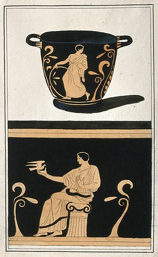Above, a red-figured Greek wine bowl (krater); below, detail of the decoration showing a seated man holding a dove. Watercolour by A Dahlstein, 1760/1780 (?). Contributors: August Dahlstein. Work ID: jfb5gfch.