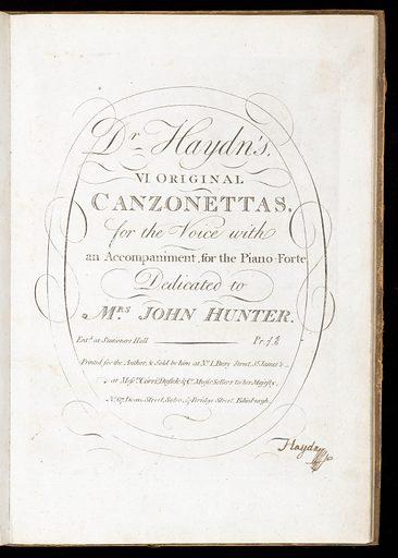 Frontispiece to Dr Hayden's VI original canzonettas. Musical. Work ID: gedpcwqb.
