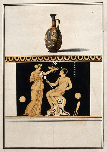 Above, red-figured Greek perfume vessel (lekythos) decorated with figures and a palm motif; below, detail of decoration showing a naked man seated and a woman holding a dish. Watercolour by A Dahlstein, 1760/1780 (?). Contributors: August Dahlstein. Work ID: j2dqvg8x.