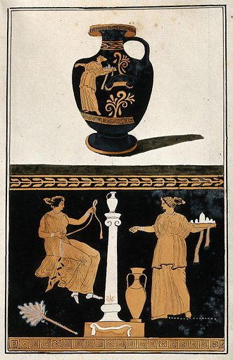Above, red-figured Greek water jar (hydria) decorated with figures; below, detail of decoration showing a seated woman and her servant, carrying a tray with vessels. Watercolour by A Dahlstein, 1760/1780 (?). Work ID: uzv6p2s8.