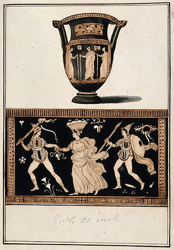 Above, red-figured Greek wine bowl (column krater); below, detail showing a man with a torch holding the hand of a woman with a basket (of grape ?) on her head and a man with a shield (during a bacchanalia ?). Watercolour by A Dahlstein, 1760/1780 (?). Contributors: August Dahlstein. Work ID: gjssnx6g.