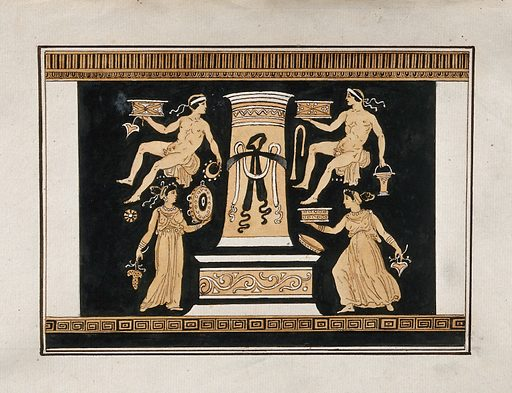 """Reverse of the Greek red-figured volute-krater also known as """"the Hamilton Vase"""" (made in Italy ca 330 BC), showing two men and two women, holding various objects, around a stele. Watercolour by A Dahlstein, 1760/1780 (?). Created 1760–1780. Contributors: August Dahlstein (active 1754); Sir William Hamilton (1730–1803). Work ID: ez5s7emt."""