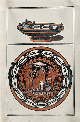 Above, red-figured Greek cup (kylix ?); below, detail of decoration showing an outdoor scene: a seated woman is attended by two servants, one is holding a parasol, the other is holding a jug. Watercolour by A Dahlstein, 1760/1780 (?). Contributors: August Dahlstein. Work ID: cxr7a5kj.
