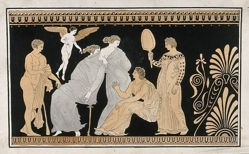 Detail of the decoration of a red-figured Greek strorage jar (pelike) showing a seated man, a seated woman (Demeter ?), a woman and a servant holding a fan, a naked man (Demophoon ?) and a winged figure. Watercolour by A Dahlstein, 1760/1780 (?). Created 1760–1780. Contributors: August Dahlstein (active 1754); Sir William Hamilton (1730–1803). Work ID: uwk4upup.