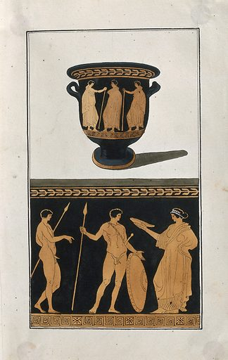 Above, red-figured Greek wine-mixing bowl (bell-krater); below, detail of the decoration showing a woman and two naked men with spears and a shield. Watercolour by A Dahlstein, 1760/1780 (?). Contributors: August Dahlstein. Work ID: g6fgs7pf.