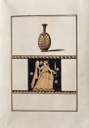 Above, red-figured Greek perfume jar (lekythos) decorated with a palm motif; below, detail of the decoration showing a lavishly dressed woman holding various objects. Watercolour by A Dahlstein, 1760/1780 (?). Contributors: August Dahlstein. Work ID: d69pjh55.