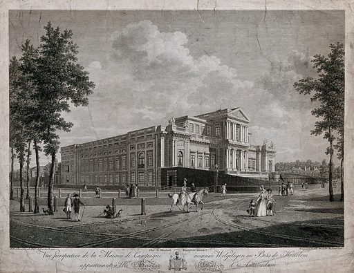Haarlem, North Holland: the Paviljoen Welgelegen, the seat of Henry Hope. Etching by B Comte, 1792, after HP Schouten, 1791. Designed for the banker Henry Hope by Triquetti, the building was constructed 1785–1790. It later became the seat of the Regional Government of Noord-Holland. Created 1792. Haarlem (Netherlands). Henry Hope (1735 or 1736–1811). Paviljoen Welgelegen (Haarlem, Netherlands). Contributors: Hermanus Petrus Schouten (1747–1822); Benjamin Rodolphe Comte, approximately 1760– (active 1792). Work ID: hbhhaenx.