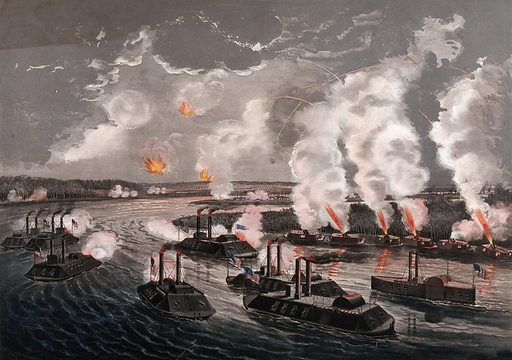 The bombardment and capture of Island 'Number Ten' on the Mississippi River, April 7th 1862: Federal gunboats and mortar boats are shown firing at the Confederate fortifications on the island. Colour lithograph, 1862. Created 1862. Work ID: u4awd3sn.