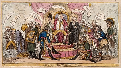 Louis XVIII sits on a throne surrounded by bowing marshals who offer their loyalty. Coloured etching by G Cruikshank, 1814. A satire on the speedy re-affiliation of the marshals after the abdication of Napoleon Next to Louis XVIII is Talleyrand. Among the marshals is Soult (also to serve for Louis-Philippe) who carries on his back various pictures looted from Spain. Created 1 June 1814. Contributors: George Cruikshank (1792–1878). Work ID: htzkvd63.