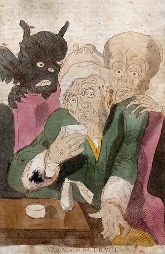 """An old man drinks from a cup while a devil and a skeleton stand behind him. Coloured etching. The bottle on the table bears a label inscribed """"Last dose"""": meaning poison or medicine?. Work ID: dujmz443."""