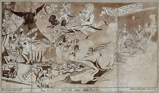 Napoleon leaps from his bed, terrified at a nightmarish vision of ghosts and devils, while Britannia and Liberty float on a cloud behind. Etching by the Caricaturist General, 1811. Created 1 September 1811. Nightmares. Contributors: Caricaturist General (active 1811). Work ID: get34e6b.