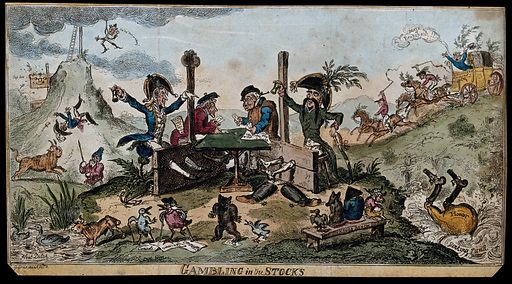 Lord Cochrane and Captain de Beranger, collaborators in a fraudulent manipulation of the Stock Exchange, playing dice while in the stocks. Coloured etching by George Cruikshank, 1814. Lord Cochrane is on the left, Beranger on the right, with huge black moustaches indicating Prussian nationality. In the background Napoleon has been tossed in the air by a bull with a man's face, representing John Bull On 21 February 1814 Captain de Beranger, using a pseudonym, announced that Napoleon had been killed in battle. The value of stocks rose, and a consortium including Lord Cochrane sold at great profit. Cochrane swore an affidavit that he had been deceived by Beranger. Created 1 April 1814. Stock exchanges. Stocks (Punishment). Contributors: George Cruikshank (1792–1878). Work ID: zy7vb9re.