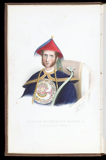Painting of Duncan McPherson in the costume of a Mandarin. Work ID: ar3ec6ed.