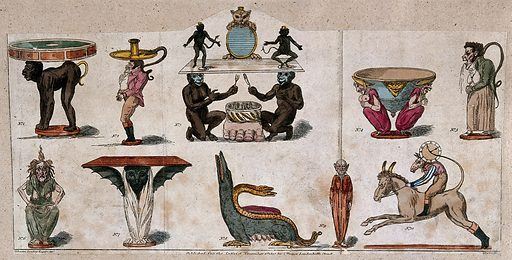"""Furniture in human and animal forms. Coloured etching by S de Wilde, 1807, after """"Sylvester Scrutiny"""". Work ID: eqc3rven."""