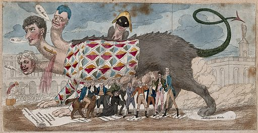 """A monster representing the miscegenated state of the theatre, combining tragedy, comedy, and pantomime. Coloured etching by S De Wilde, 1807, after """"Sylvester Scrutiny"""". In the background on the left is Covent Garden and on the right is Drury Lane. An old man drives a flock of geese between the two. In the foreground stands a giant she-wolf with three human heads (the playwright Sheridan, the actor Kemble and the clown Grimaldi), with a fourth, a harlequin, looking over the top. The wolf suckles contemporary dramatists who worked in different genres (melodrama, pantomime etc.), and tramples under foot Shakespeare and the """"Regular dramas"""" of the Jacobean stage. The wolf may be an allusion to the """"Wolves' club"""" (see the British Museum catalogue, nos. 12919 and 13367), and also represents the she-wolf which suckled Romulus and Remus. Created 4 December 1807. Theater. Wolves. Monsters. Contributors: Sylvester Scrutiny (active 1807); De Wilde, Samuel (1751–1832). Work ID: kgwg7eqr."""