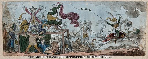 """A troupe of quack medicine vendors crying up their wares, representing Opposition politicians advertising their policies to the Prince Regent, but he, represented as a horse ridden by RC Wellesley, gallops away from them. Coloured etching by G Cruikshank after """"Nathaniel NoParty"""", 1812. The Opposition politicians are represented as quacks beguiling the people with advocacy of reform and clamour against corruption in high places. Samuel Whitbread stands on a platform holding a placard inscribed """"Infallible panacea-Reform""""; in his coat pockets are medicine bottles, one of them labelled """"Whitbreads intire"""". On the left Sheridan plays the part of the zany. Created 1 Feb[r]u[a]ry 1812. Quacks and quackery. Medicine bottles. Samuel Whitbread (1758–1815). Richard Wellesley Wellesley, Marquess (1760–1842). Contributors: Nathaniel NoParty (active 1812); George Cruikshank (1792–1878). Work ID: q2ga4bs2."""