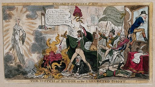 Sir Francis Burdett conjuring up a ghost, expecting it to be that of Lord Edward Fitzgerald, but the ghost of William Pitt the younger appears. Coloured etching by G Cruikshank, 1813. MD George in the British Museum catalogue implies that the event depicted really happened. Created 1 October 1813. Wizards. Ghosts. Francis Burdett (1770–1844). Edward Fitzgerald, Lord (1763–1798). William Pitt (1759–1806). Contributors: Satirist (active 1812–1813); George Cruikshank (1792–1878). Work ID: hwv7fkze.