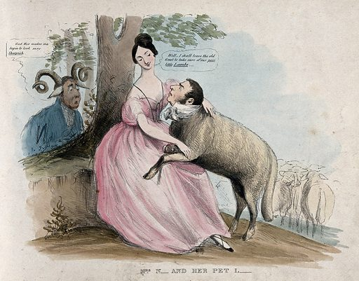A woman holds a lamb in her lap while a ram looks on; representing Caroline Norton, her relationship with William Lamb, Lord Melbourne, and the disaffection of her husband. Coloured lithograph, ca 1836. Created 1836?. Caroline Sheridan Norton (1808–1877). George Chappele Norton (1800–1875). William Lamb, Viscount Melbourne (1779–1848). Work ID: c7q2qgwx.