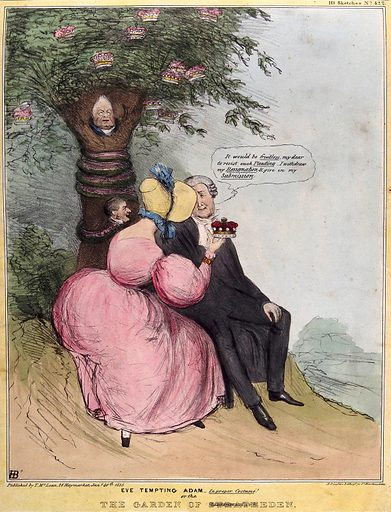 Sir John Campbell, Attorney General, sits with his wife, Lady Stratheden, who holds up a crown of the peerage. Coloured lithograph by HB (John Doyle), 1836. Wrapped around the tree is a serpent with the head of Lord Melbourne. The tree also contains the portrait of William IV. Sir John Campbell (1807–1855), on failing to become Master of the Rolls, resolved to resign but gave way to a promise that in recognition of his services, his wife should be raised to the peerage. Created 30 January 1836. Contributors: John Doyle (1797–1868). Work ID: yqbetktt.