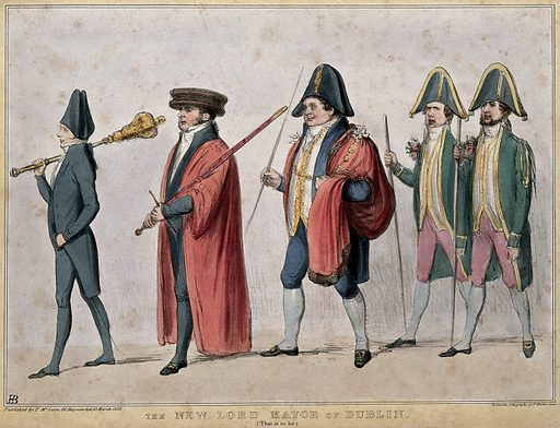 A mayorial procession with Daniel O'Connell. Coloured lithograph by HB (John Doyle), 1836. Wearing a black outfit with a mace over his shoulder and leading the procession is Lord John Russell. Behind him carrying a sword is Lord Melbourne. Daniel O' Connell is dressed in the garb of the Mayor of Dublin. Taking up the rear are Lord Morpeth and Lord Mulgrave. This is a sketch in anticipation of the passing of the Bill of reform of Municipal Corporations in Ireland and it presents as one of the results that O'Connell would become Lord Mayor of Dublin. Created 25 March 1836. Contributors: John Doyle (1797–1868). Work ID: rcenbpgg.