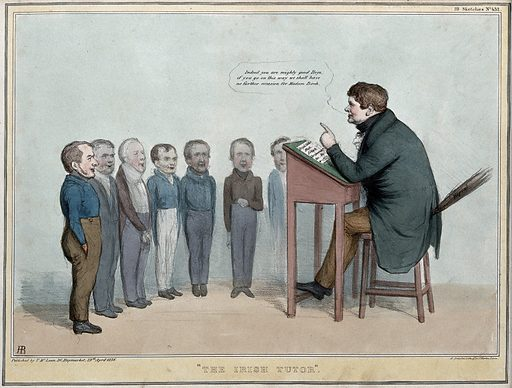 """Daniel O'Connell sits at a lectern desk with a birch inscribed """"repeal"""" teaching a row of school boys. Coloured lithograph by HB (John Doyle), 1836. The schoolboys are Lord Melbourne, Lord Lansdowne, Lord Dunzannon, Lord John Russell, Thomas Spring-Rice, Lord Morpeth and Lord Palmerston. At this time O'Connell was lobbying for an adjustment of tithes and corporate reform for Ireland but repeal of the Union was his ultimate aim. The conservatives had a small majority in the House of Commons and relied on the support of the Irish members led by O'Connell. Created 29 April 1836. Contributors: John Doyle (1797–1868). Work ID: e78mbuwc."""