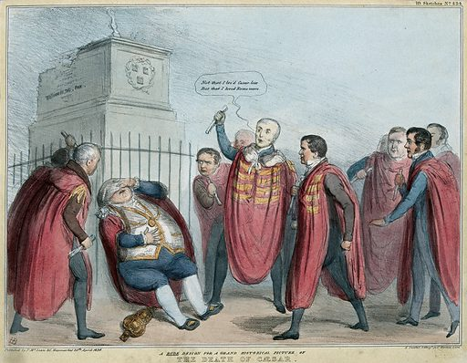Beneath the broken equestrian statue of William III a group of robed politicians, including the Duke of Wellington, attack with scrolls Morrison the Mayor of Dublin, who collapses. Coloured lithograph by HB (John Doyle), 1836. The scene is a parody of the murder of Julius Caesar by Brutus and other Roman senators. Among the attackers are Sir James Graham, Lord Stanley, Lord Lyndhurst and Sir Robert Peel. The subject is Irish municipal reform. The statue of King William was blown up on 7 April 1836. Created 29 April 1836. Contributors: John Doyle (1797–1868). Work ID: awfhtes8.