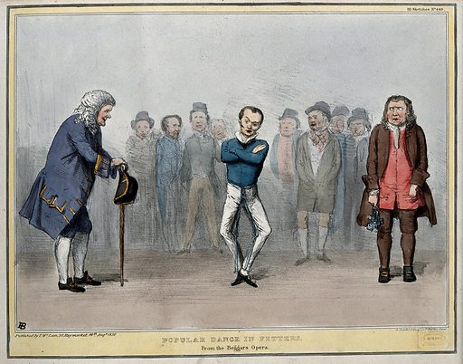 Lord John Russell in fetters, as Filch, dances while Daniel O'Connell, on the left, represents Peachum and Joseph Hume, on the right, Lockitt. Coloured lithograph by HB (John Doyle), 1836. In the background are the countenances of Thomas Spring-Rice and Lords Morpeth and Melbourne. This sketch merely follows up the often repeated charge that Mininsters wore the chains of Daniel O'Connell. Created 10 August 1836. Contributors: John Doyle (1797–1868). Work ID: wdamr7y7.