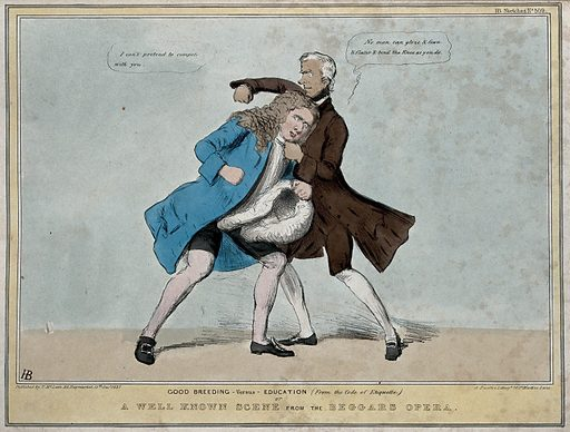 A fist-fight between Lord Brougham and Lord Melbourne as Peachum and Lockit. Coloured lithograph by HB (John Doyle), 1837. This refers to the animosity at the opening session of Parliament between Lords Melbourne and Brougham and the recorded exchanges between them. Created 22 October 1836. Contributors: John Doyle (1797–1868). Work ID: k3k7ufth.