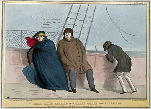 Lord Durham, the Governor-General of the British provinces in North America, sits beside E Ellice on a ship as Turton vomits over the side. Coloured lithograph by HB (John Doyle), 1838. The rough voyage from Canada returning to England alludes to the rough treatment given to Durham for his disastrous handling of Canadian affairs in Parliament. Created 4 May 1838. Contributors: John Doyle (1797–1868). Work ID: x7e5623k.