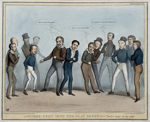 """Lord Durham, surrounded by schoolboy politicians, is victimised in a game and jostled by Lord Melbourne. Coloured lithograph by HB (John Doyle), 1838. """"You're none of my child"""" refers to the phrase made during the game. Durham's only friend is Sir William Molesworth. Also joining in the persecution is the Duke of Wellington, Sir Robert Peel and Lords Lyndhurst, Monteagle, Glenelg, Duncannon and Howick. Few attempts were made by the government to defend Lord Durham's acts in Canada. Created 31 December 1838. Contributors: John Doyle (1797–1868). Work ID: gh9htdkf."""