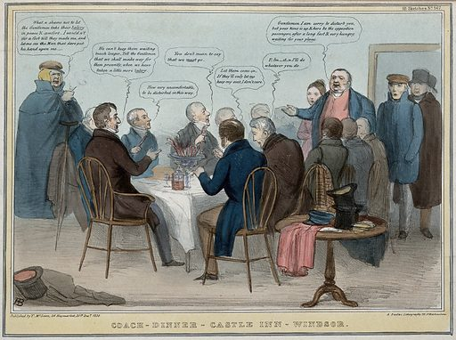 Introduced by the Duke of Wellington, John Bull and Sir Robert Peel interrupt a dinner table occupied by government ministers and Lord Melbourne. Coloured lithograph by HB (John Doyle), 1838. The table is filled by Lord Holland (his seat has a crutch next to it), Lord Palmerston and Lord Glenelg etc. eating celery and who are determined to remain. The unsuccessful policies of the ministry resulted in hopes for their replacement. Created 31 December 1838. Contributors: John Doyle (1797–1868). Work ID: dh3sjbqp.