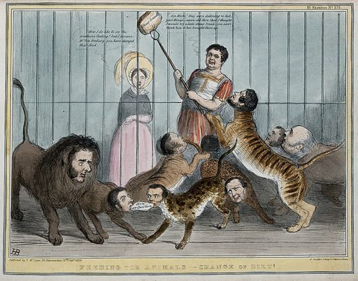 """Daniel O'Connell about to feed a loaf of bread to a cage full of big cats with the heads of politicians, Queen Victoria looks on. Coloured lithograph by HB (John Doyle), 1839. The reference by Queen Victoria to """"Van Amburg"""" refers to a cage full of wild animals exhibited at Dury Lane Theatre which was a sensation at the time. Lord Melbourne is the lion. Poulet Thompson and Lord John Russell tug at a morsel inscribed """"corn law question"""". Also in the cage are Lords Palmerston, Normanby, Lansdowne and Holland and Thomas Spring-Rice. The print refers to the radicals intention to repeal or modify the corn laws. Created 12 February 1839. Contributors: John Doyle (1797–1868). Work ID: smahrf6a."""