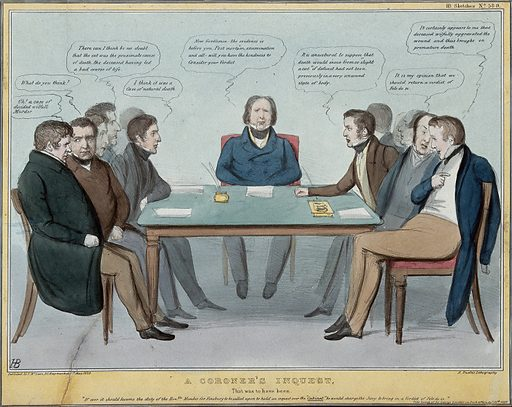 A group of politicians debate at a coroner's inquest whether Lord Melbourne's temporary resignation was equivalent to murder or to suicide. Coloured lithograph by HB (John Doyle), 1839. To the left sit Daniel O'Connell, Joseph Hume, Sir E L Bulwer, Grote and Leader, while on the opposite side sit Sir Robert Peel, Sir James Graham and Lord Stanley. Wakley presides over the inquest. The subject is derived from a speech in the House of Commons by Sir George Sinclair. Created 1 May 1839. Politicians. Contributors: John Doyle (1797–1868). Work ID: kwvubffb.