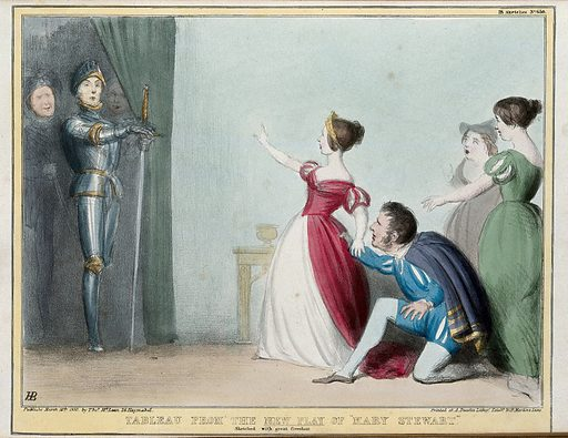 """A dramatic encounter between the Duke of Wellington, dressed in armour bearing a large sword, and Queen Victoria with Lord Melbourne kneeling in supplication and two ladies in waiting. Coloured lithograph by HB (John Doyle), 1840. An adaption of a scene from Haynes' """"Tragedy of Mary Stuart"""" playing at the time. Behind Wellington are Sir Robert Peel and Lord Lyndhurst. Created 16 March 1840. Contributors: John Doyle (1797–1868). Work ID: sbgnebst."""